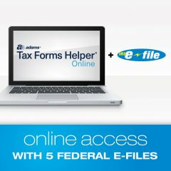 Adams® Tax Forms Helper® Online E-File Bundle with 5 Federal E-Files