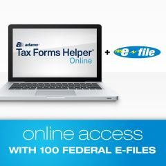 Adams® Tax Forms Helper® Online E-File Bundle with 100 Federal E-Files